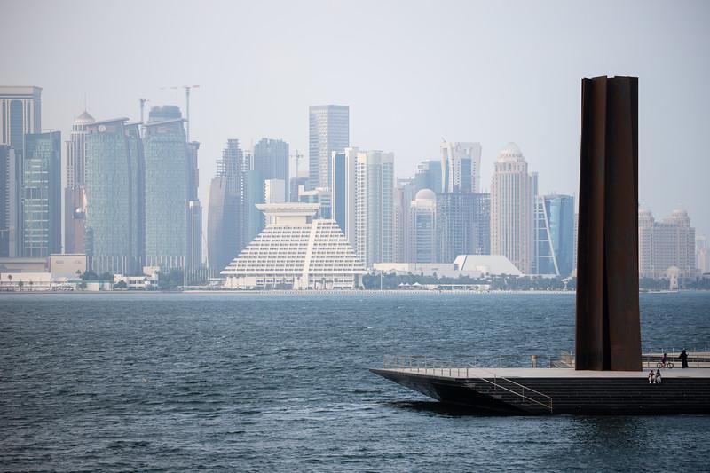 Art sculpture designed by Richard Serra at the Museum of Islamic Art in Doha, Qatar.