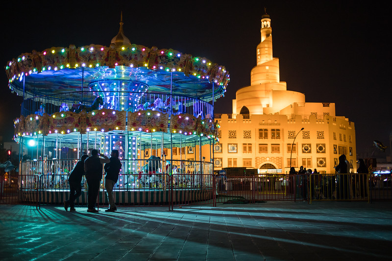 A carousel just outside the Souq Waqif market area of Doha, Qatar.