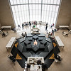 A large geometric fountain anchors the cafe inside the Museum of Islamic Arts in Doha, Qatar.