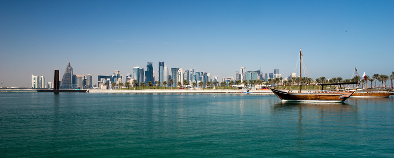 Panorama of West Bay in Doha, Qatar.