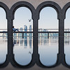 Reflections of the arcades of the Museum of Islamic Art in Doha, Qatar.