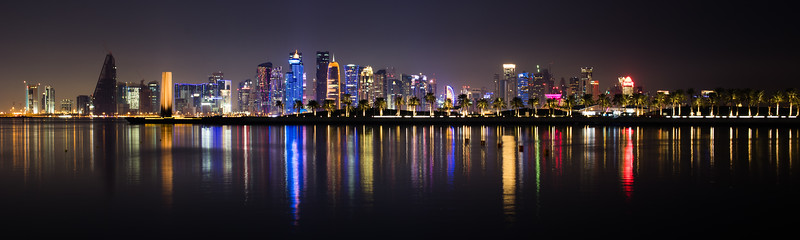 Panorama of West Bay's skyscrapers in Doha, Qatar.