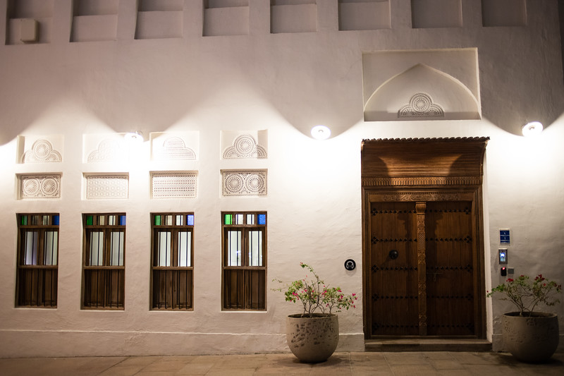 Traditional-style doors in the Msheireb area of Doha, Qatar.