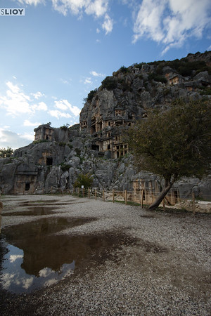 Approaching the Myra Tombs.