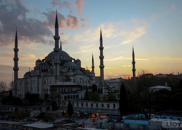 sultanahmet blue mosque sunset