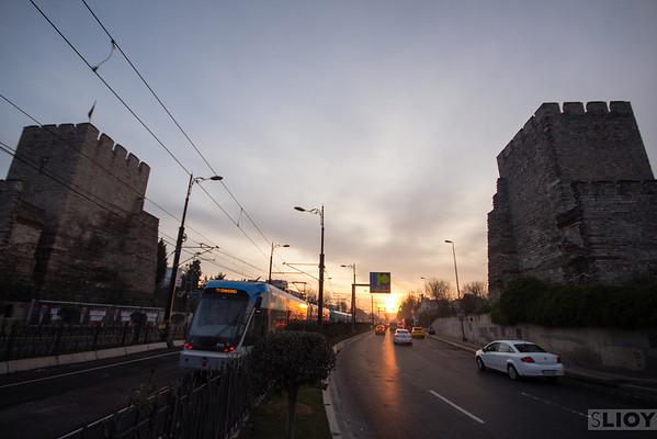 Istanbul city walls tram topkapi