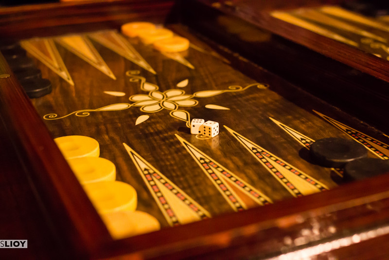 Backgammon at a nargile cafe in Istanbul, Turkey.