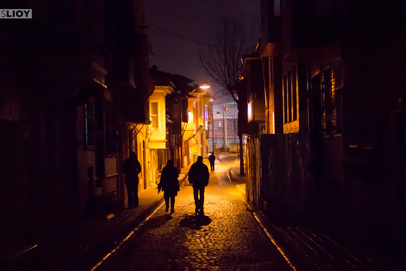 Out on the streets of Sultanahmet at night in Istanbul, Turkey.