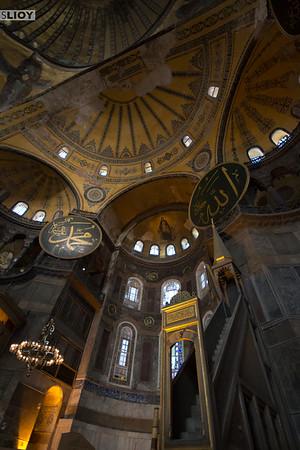 Christian altar and Muslim mimbar inside the Hagia Sophia in  Istanbul.