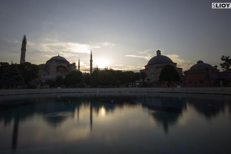 Sunrise over the Hagia Sophia.