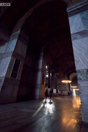 Dark corners of the Hagia Sophia in Istanbul Turkey.