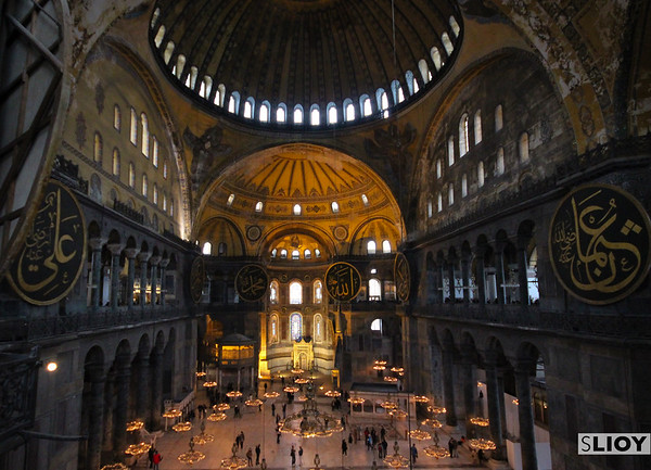 Wide open spaces of the Hagia Sophia.