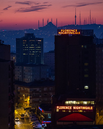 Sunrise over Istanbul as seen from the neighborhood of Sisli.
