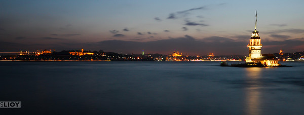 maiden's tower night panorama