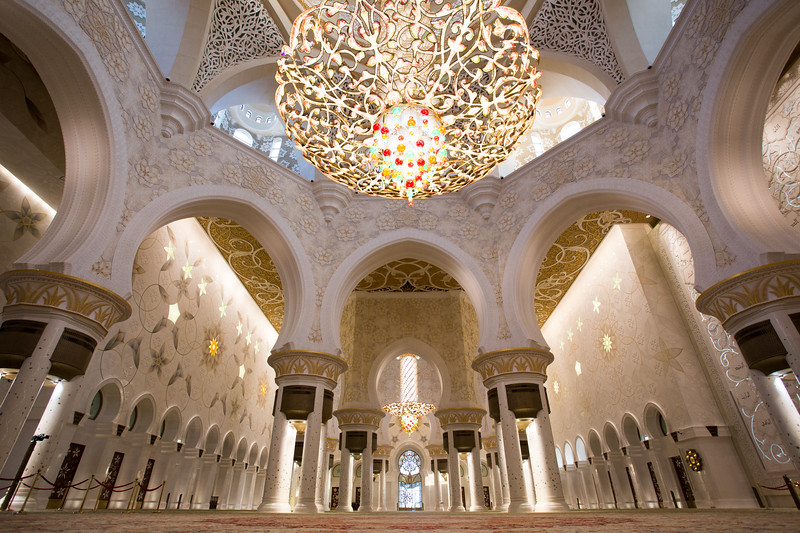 Interior of the Sheikh Zayed Grand Mosque in Abu Dhabi, UAE.