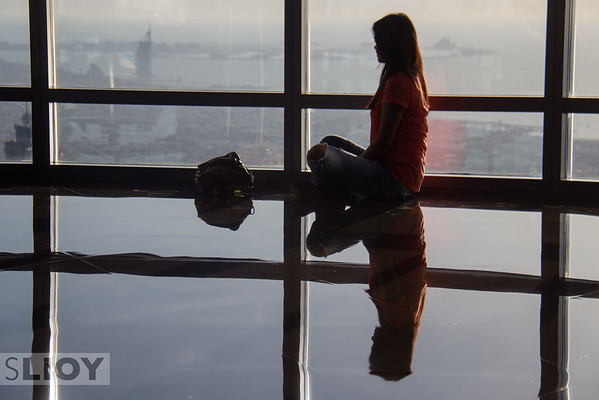 Looking out from the Burj Khalifa over the skyline of Dubai.