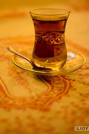 A glass of Emirati Tea in Dubai.