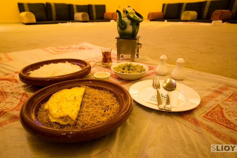 Dinner spread at Al Khettar restaurant in Dubai.