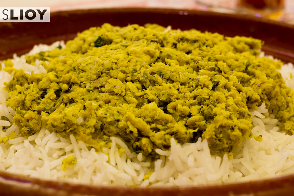 Emirati Food in Dubai: Qsheed - a traditional dish of shark meat and mixed spices.