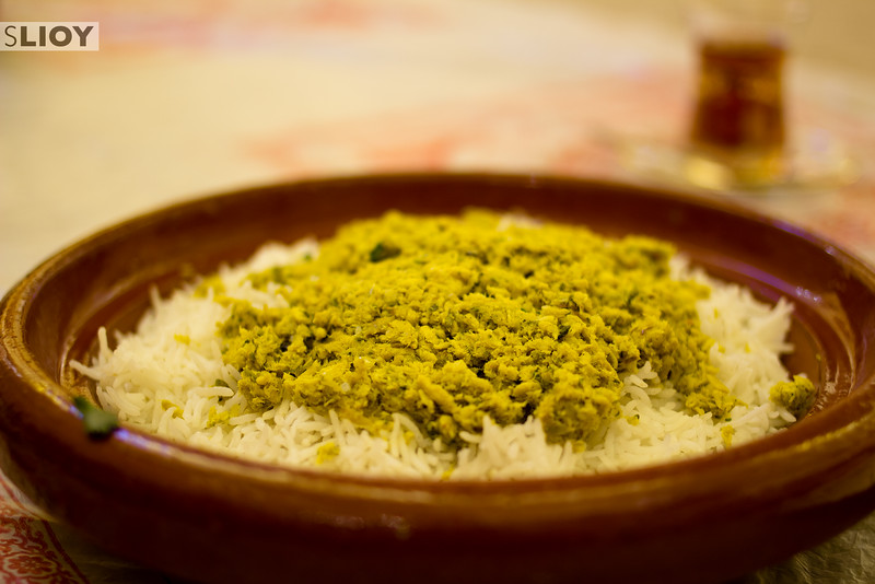 Qsheed - an Emirati dish of young shark and local spices served over rice.