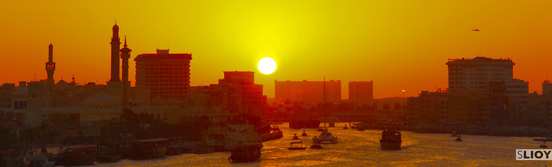 dubai creek at sunset