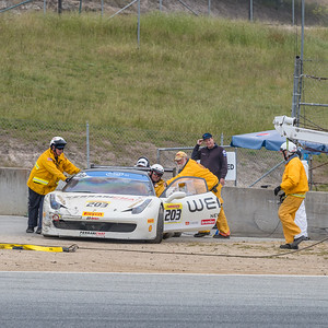 he safety crew working to clear the track during qualifying