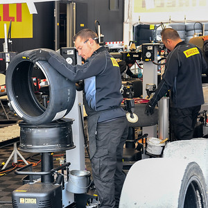 Pirelli technicians at work, maybe the busiest folks in the paddock