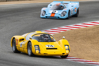 1966 Porsche 906 leading 1969 Porsche 917 in  Turn 5