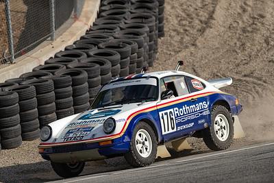 1984 Porsche 953 Paris Dakar rally winner taking the shortcut through the Corkscrew