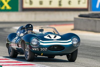 1955 Jaguar D-Type driven by Chris MacAllister  exiting Turn 11