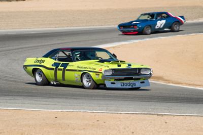 1970 Challenger exits Turn 2 ahead of Alexander Motola's 1969 Z28