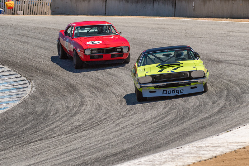 Richard Goldsmith leads Daniel Goldsmith - Dodge Challenger in front of Chevy Camaro