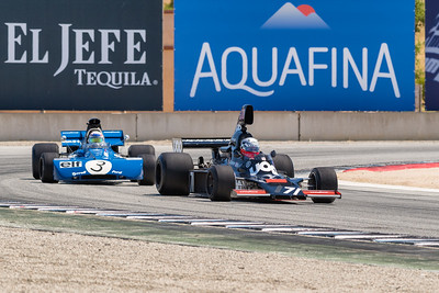 Dalmo DeVasconcelos' Shadow DN5 leads John Delane's Tyrell 002 out of Turn 11
