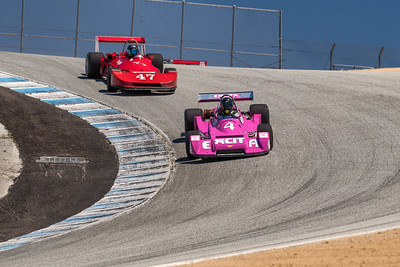 Chevron B39 of Martin Lauber leads Danny Baker's Ralt RT1 through Corkscrew