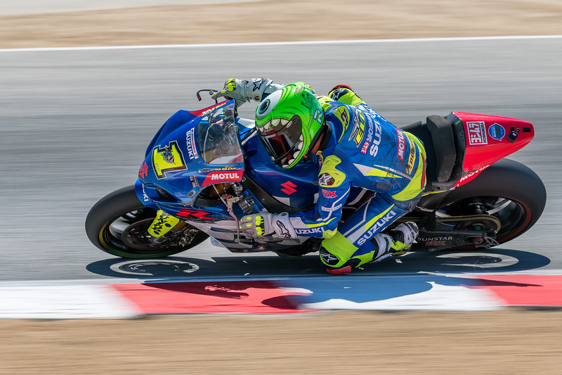 Toni Elias on the #1 Suzuki GSXR-1000 after recovering from an early crash