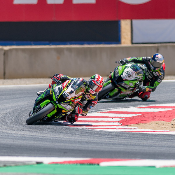 Jonathan Rea leaned over in T11 during Friday practice