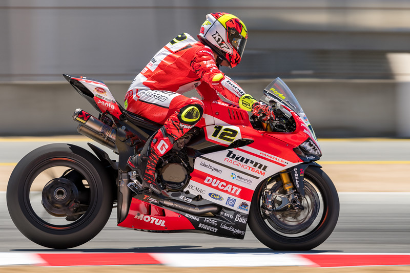 Xavi Flores hard on the brakes as the #12 Ducati Panigale R into Turn 11