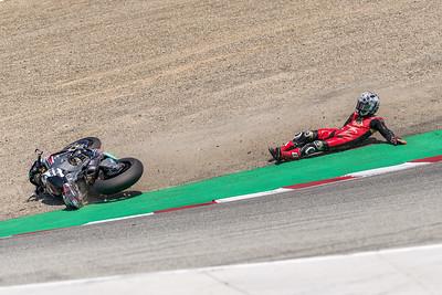 PJ Jacobsen slides off in the Corkscrew late in Race 2