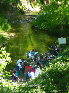 Church group singing hymns along Oak Creek