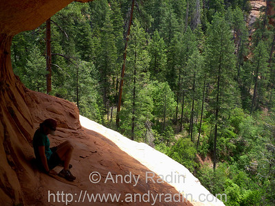High up on a ledge above West Fork.  Testing shoe friction!