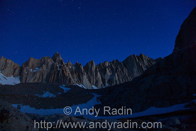 Just before dawn, looking at Mt. Muir and Mt. Whitney
