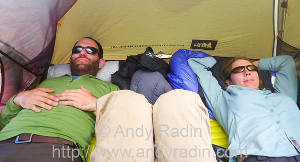 chilling in the tent on the first morning
