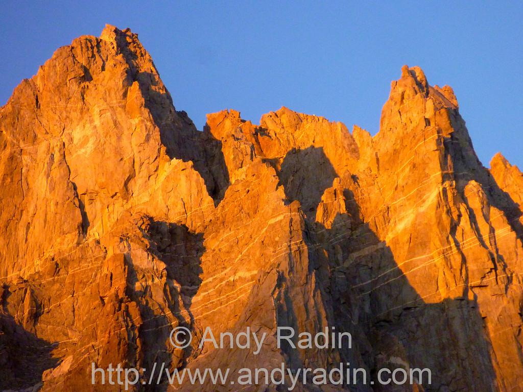 Sunset on Starlight and North Palisade Peaks