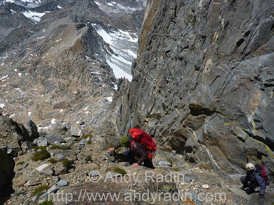 Traversing the couloir