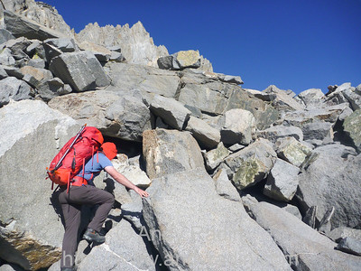 Near the top of Thunderbolt Pass - hard going with heavy packs