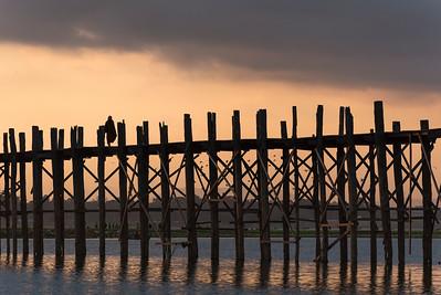 U Bein Bridge - longest teakwood footbridge in the world - crossing the Taungthaman Lake in Amarapura near Mandalay, Burma (Myanmar)
