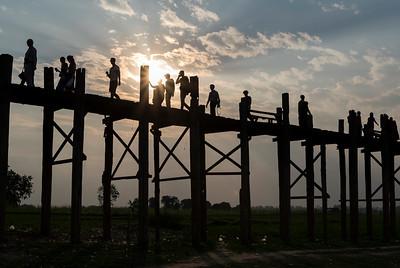 U Bein Bridge - the longest teakwood footbridge in the world in Amarapura near Mandalay, Burma (Myanmar)