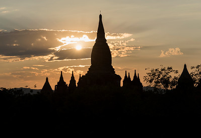 Sunset over temples of Bagan
