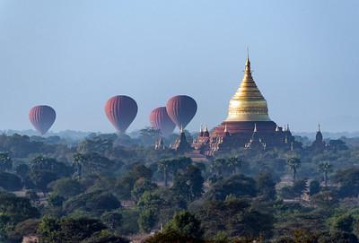 Hot-air balloons land near Dhammayazika Pagoda, Bagan, Burma - Myanmar