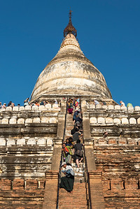 Visitors climb steep steps of Shwesandaw Pagoda, Bagan, Burma - Myanmar